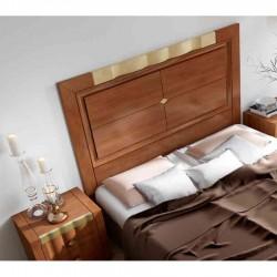 Lit adulte contemporain tête de lit à motif doré et bois au choix ALPHA4